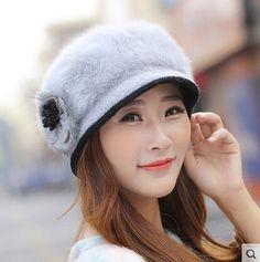 Winter flowers rabbit fur beret hats for women