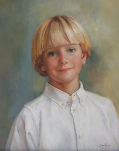 Precious head & shoulders portrait of a boy by a Portraits, Inc. artist