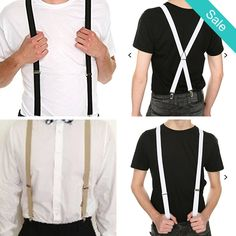 "In Store Men's 1"" Unisex ""Y"" Clip on Suspenders Choose Black, White or Taupe - Available now in Store Item Type: SuspendersPattern Type: SolidGender: UnisexMaterial: PolyesterWidth: 1inch / 2.5cm - On Sale for $12.99 (was $23.99)"