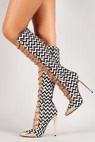 Black&White Multicolor Chevron Chain Metallic Toe Cap Knee-High Boots @ Urban Originals $130