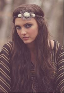 Images of Pink Pewter Piper Feather and Stone Stretch Headband