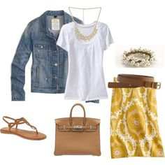 Yellow skirt, jean jacket and sandals! How cute.