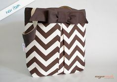 Brown Pleated Chevron Tote Bag with Bow by sugarrushcreative, $22.00