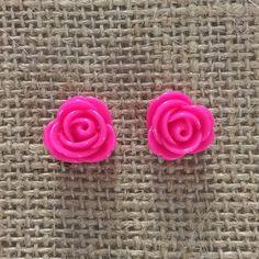 Rose Earrings ✨ Pink resin rose stud earrings ✨Hypoallergenic ✨ Jewelry Earrings