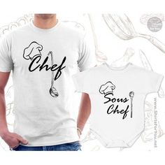 Chef and Sous Chef Matching T Shirt and Onesie for Dad and Baby, Father and child matching outfit for who loves to cook