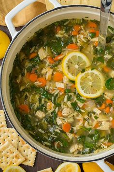 Lemon Chicken and Spinach Orzo Soup - Cooking Classy Thinking of substituting the orzo with cauliflower for a low carb soup.:)