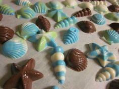 DIY Seashell candy favors :  wedding beach wedding blue diy favors green seashell candies teal Candy