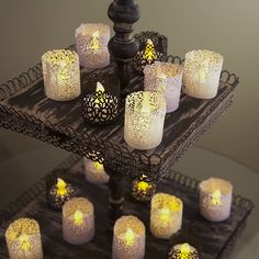 Frux Home and Yard Votive Candle Holders - Flameless Tea Light Votive Wraps- 48 Gold Colored Laser Cut Decorative Wraps Flickering LED Battery Tealight Candles (not Included) Led Candles, Tea Light Candles, Tea Lights, Diy Party Decorations, Paper Decorations, Gold Candle Holders, Candle Shades, Retro Home, Tea Light Holder
