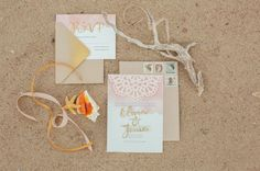beachy, bohemian gold invitation