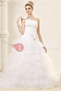 Robe de Mariée Etagée Mode de Bal Epaule Asymétrique sans Manches Traîne Chapelle   (Livraison gratuite)