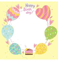 Happy birthday card background with balloons vector by kostolom3000 on VectorStock®