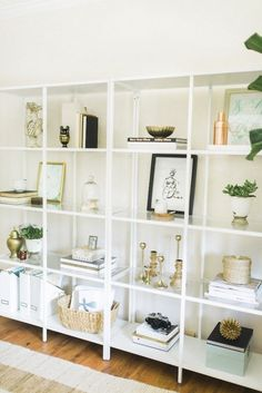 Home office shelving #white_shelf_decor