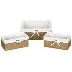 The Seagrass utility basket comes in a set of 3. The baskets are made of Seagrass rattan material and lined with cotton.   #backtoschool