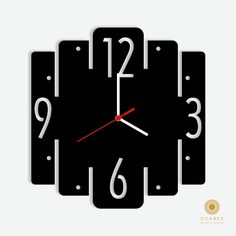 Square Geometric Wall Clock Clock Art, Diy Clock, Metal Clock, Wood Clocks, Clock Template, Traditional Clocks, Tick Tock Clock, Wall Watch, Unique Clocks