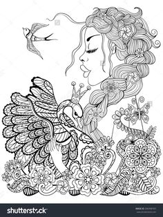 forest fairy with wreath on head hugging swan in flower for antistress coloring page with high details isolated on white background illustration in - Coloring Book App For Adults