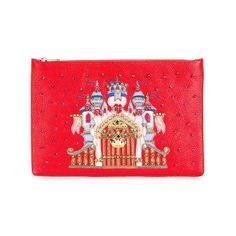 Red leather castle patch clutch from Dolce & Gabbana featuring a top zip fastening, a gold-tone logo plaque, crystal embellishments, a gold-tone stud detailing and a purple stud detailing. Size: OS. Color: Red. Gender: Female. Material: Leather/glass/metal. Proenza Schouler, Bottega Veneta, Gender Female, Color Red, Lady In Red, Jimmy Choo, Red Leather, Fendi, Embellishments