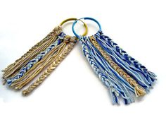 Check out this item in my Etsy shop https://www.etsy.com/uk/listing/236936388/blue-gold-earrings-cotton-jewelry-boho