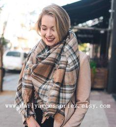 Plaid Blanket Scarf Winter Scarf Womens by Dailyaccessoriez