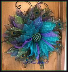 Peacock Deco Mesh Flower Wreath, Summer Wreath, Peacock Feathers, Deco Mesh Flower, by A Noble Touch Peacock Wreath, Peacock Feathers, Peacock Crafts, Peacock Decor, Wreath Crafts, Diy Wreath, Tulle Wreath, Wreath Making, Wreath Ideas