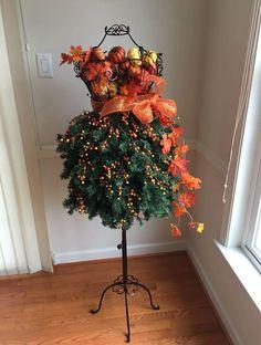 Mannequin Christmas Tree, Dress Form Christmas Tree, Xmas Tree, Christmas Trees, Christmas Decorations, Holiday Decor, Fall Floral Dress, Fall Table, Halloween Christmas