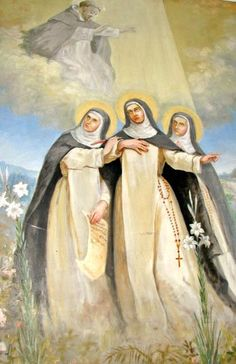 Blessed Diana, Blessed Cecilia, and Blessed Amata receiving a blessing from St. Dominic