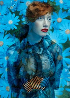 ❀ Flower Maiden Fantasy ❀ beautiful art fashion photography of women and flowers - blue dreaminess
