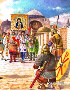 The siege of Constantinople, 626 year. Roman History, European History, Art History, Byzantine Army, Fall Of Constantinople, Byzantine Architecture, Medieval Paintings, Islamic Cartoon, Classical Antiquity
