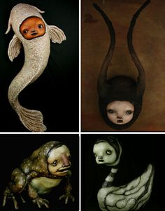 From frog bodies with creepy human faces to spindly marionettes packed with expression, the dark yet quirky sculpture of Scott Radke is truly enchanting. Quirky Art, Unique Art, Ceramic Sculpture Figurative, Snail Art, Unique Drawings, Creepy Dolls, Art Inspo, Puppets, Alice In Wonderland