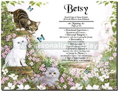 Personalized First Name History Art Print Playful Kittens Chasing Butterflies in Flower Patch Garden Customized With The Name of Your Choice, Even Unique Names are Available.