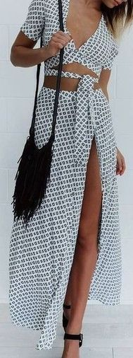 #Summer #Outfits for Spring Break / Pattern Print Two Piece Maxi Dress