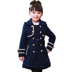 Marcas em destaque 2016 Do Bebê das Crianças Meninas Roupas de Inverno  Outwear Jaqueta de Manga Longa Casaco de Trincheira Menina Outerwear  Crianças Jaqueta ... 686350c746