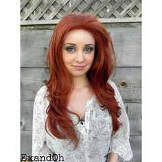 Sexy Redhead Copper Ginger Long Wavy Lace Front Wig Full Body Curly... ($94) ❤ liked on Polyvore featuring beauty products, haircare, hair styling tools and curly hair care