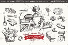 Traditional Bakery Collection is ready to supply a set of line art drawings to your projects. There is a single bitmap file in this pack (the retro poster in Pencil Illustration, Graphic Illustration, Illustrations, Room Deco, Bakery Logo Design, Food Drawing, Creative Sketches, Paint Markers, Business Card Logo