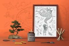 Indiánske príbehy - Spiaca líška - čiernobiela ilustrácia / maľovanka
