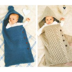 Cosy Blue Cocoon & Cosy Cabled Cocoon in King Cole Aran - SalvabraniBaby Aran Book 2 by King Cole Baby Knitting Patterns, Knitting For Kids, Baby Patterns, Baby Sleeping Bag Pattern, 2 Baby, Baby Sack, Diy Crafts Knitting, Kids Sleeping Bags, Crochet Baby Cocoon