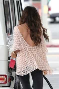 Ashley Tisdale in a gorggg lace cream top