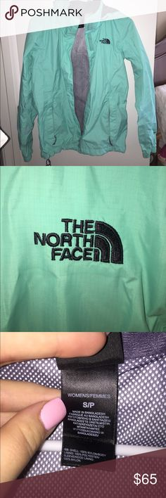 Light blue north face rain jacket Perfect condition no marks or tears, s North Face Jackets & Coats