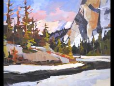 acrylic painting demo, video, time lapse, banff, bottom of bow falls