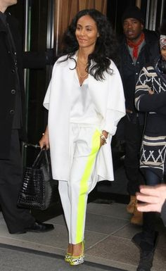 Les-Chiffoniers Neon-Trimmed Leather Trousers.  Love everything about this outfit! So cool and relaxed!