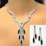 New arrivals in wholesale rhinestone jewelry include prom necklace sets.  This stunning prom set contrasts black and clear stones for an always popular combination. The scalloped lines of the necklace also make it unique. http://www.awnol.com/store/Rhinestone-Jewelry/Rhinestone-Sets