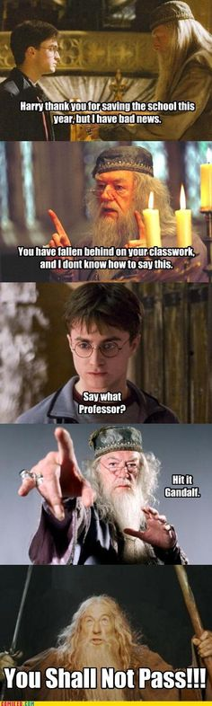 Harry Potter meme ~ Gandalf  Yeah,it's super funny and oh,so sad that Harry Potter wasn't responsible enough to finish his school work:((;