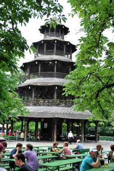 Chinese Pagoda Beer Garden in The English Garden, Munich Chinese beer in New Zea. Chinese Pagoda B Munich Germany, Bavaria Germany, English Beer, Chinese English, Chinese Beer, Places To Travel, Places To See, Pagoda Temple, Chinese Pagoda