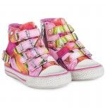 Pink floral high top sneakers