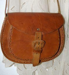 Cross Body Brown Leather Bag - HandMade Chiapas, Mexico