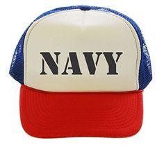 Navy US USA Trucker Hat Cap red white blue