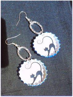 Beer caps earrings - diy - cats