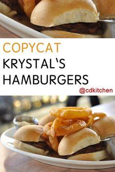 Copycat Krystal's Hamburgers   CDKitchen.com Hamburger Recipes, Beef Recipes, Cooking Recipes, Krystal Restaurant, Krystal Burger, Baby Food Recipes, Dinner Recipes, Dinner Ideas