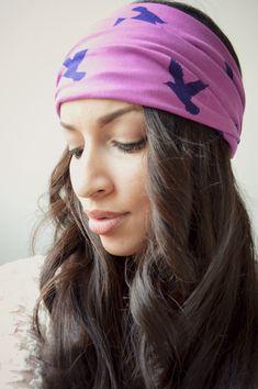 Purple Bird Stretchy headwrap,  Boho Hippie Head wrap