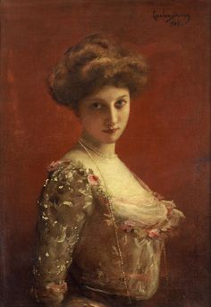 Portrait of Jane Henriot [stage name], a French actress who died in the fire at the Comédie-French on 9 March 1900, in Paris; painting of about the same year, c.1900 -- by Carolus Duran (French, 1837--1917)