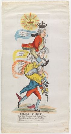 """French Flight: Burke as Mercury carrying on his shoulders Marie Antoinette who in turn carries Louis XVI.  """"Indeed, my dear, you are of no weight at all,"""" says a rather mannish looking Marie Antoinette  From the Lewis Walpole Library"""
